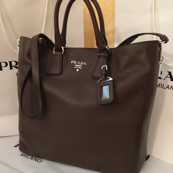 8dc323b0fdef Prada Bags | Nwt Vitello Phenix Mahogany Tote Bn2419 | Poshmark